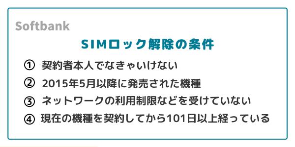 ソフトバンクのSIMロック解除条件