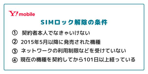ワイモバイルのSIMロック解除条件