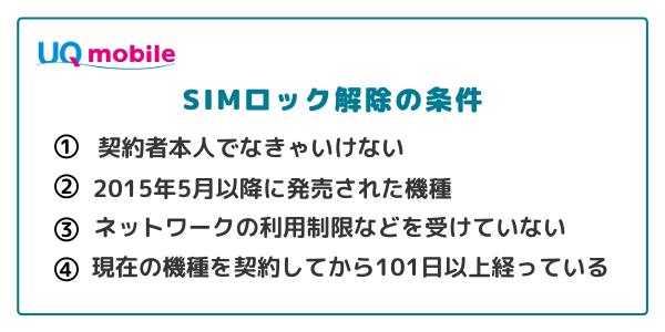 UQモバイルのSIMロック解除条件